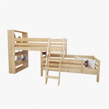 북케이스 2층 라인 사다리 침대