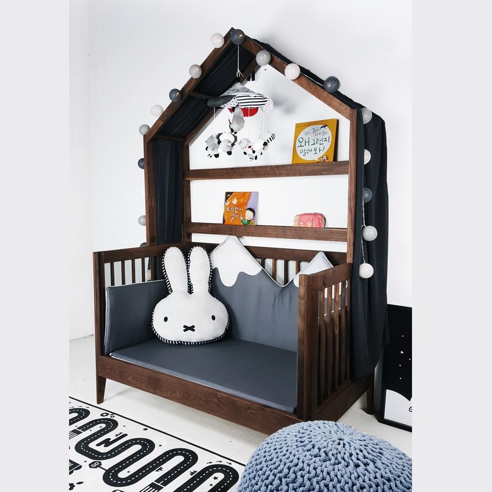 통원목 아이 베이비 하우스 침대 월넛